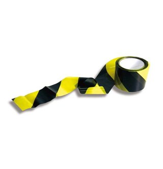 Ruban de sécurité noir/jaune 500m