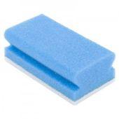 Eponge à récurer + poignée Bleu/blanc 5p