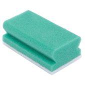 Eponge à récurer + poignée Vert/blanc 5p